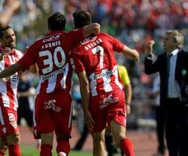 Guedes scored both goals for Aves as they claimed the Portuguese Cup. AFP