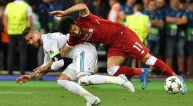 Salah recuerda con dolor la final de Champions. AFP