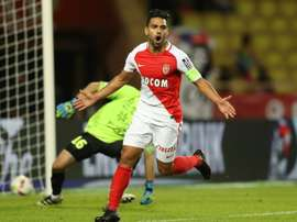 Monacos Colombian forward Radamel Falcao celebrates after scoring against Montpellier at the Louis II Stadium in Monaco on October 21, 2016