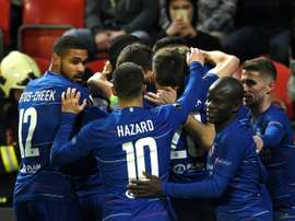 Les compos probables du quart retour d'Europa League entre Chelsea et le Slavia Prague. AFP
