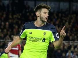 Adam Lallana célébrant son but face à Middlesbrough le 14 décembre 2016. AFP