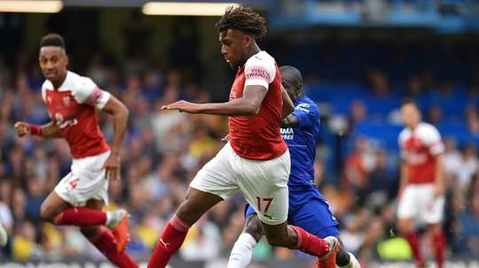 Alex Iwobi impressed but his goal was not enough to prevent Arsenal losing against Chelsea. AFP