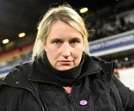 Emma Hayes was angry with the referee in draw with Lyon. AFP