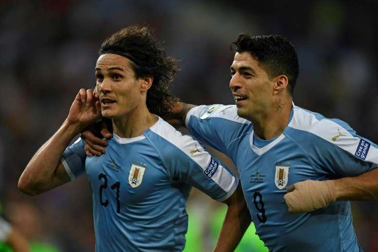 Cavani, Suárez e Godín voltam à lista do Uruguai. AFP