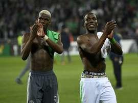 Paul et Florentin Pogba lors du match Saint-Etienne-Manchester United. AFP