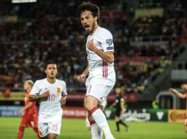Silva scored against Macedonia at the World Cup qualification game. AFP