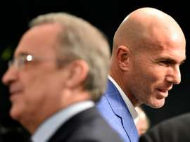 Real Madrids new French coach Zinedine Zidane (right) pictured at the Santiago Bernabeu stadium