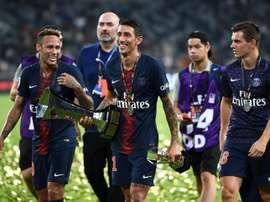 PSG celebrate winning the Trophée des Champions. AFP
