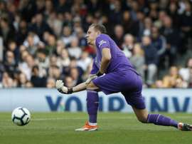 Leno in action against Fulham. AFP