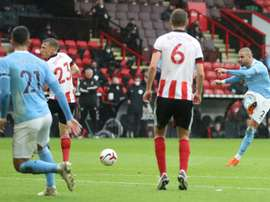Kyle Walker (R) scored the only goal in Man C's 0-1 win at Sheff Utd. AFP