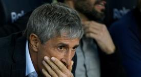 Quique Setién repercutiu o terceiro empate seguido do Barcelona. AFP