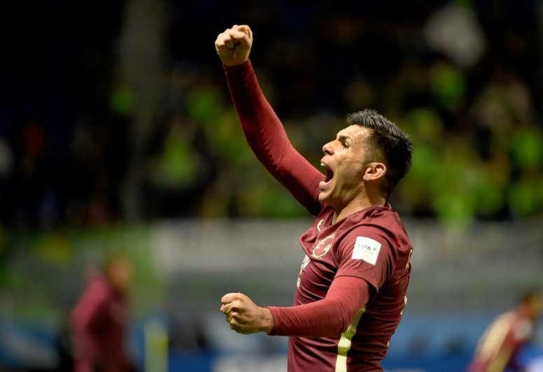 Club America forward Silvio Romero celebrates his second goal during the Club World Cup clash against Jeonbuk Hyundai Motors in Osaka on December 11, 2016