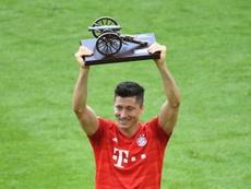 Robert Lewandowski was crowned Bundesliga top scorer for the fourth time since 2014 on Saturday. AFP