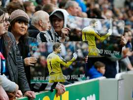 Newcastle fans show their support for goalkeeper Tim Krul in 2015