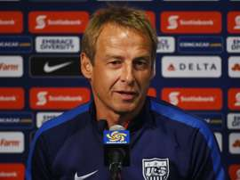 Jurgen Klinsmann who is the head coach of the US Mens soccer team speaks during a press conference before a training session at the Rose Bowl in Pasadena, California on October 9, 2015