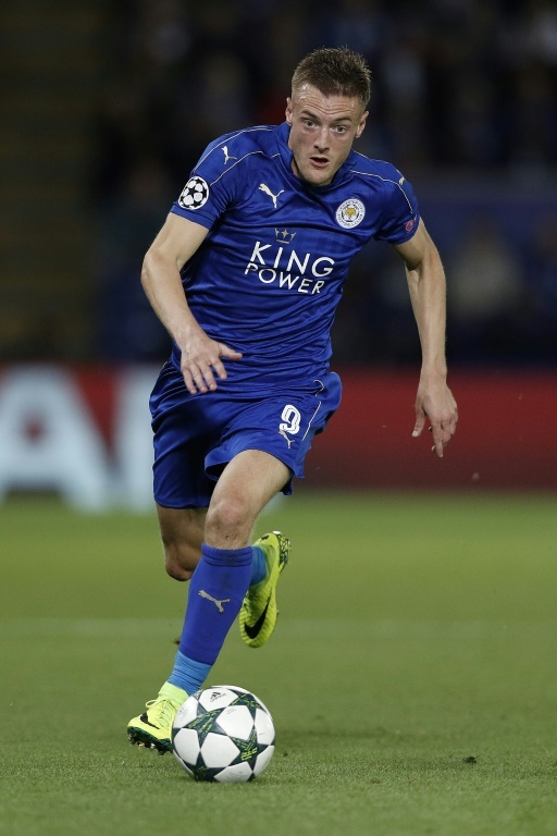 Vardy in action for Leicester in the Champions League. AFP