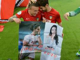 Pato showed his affection through a poster. AFP