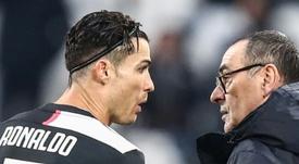 Sarri évoque la défaite de son équipe en Coppa Italia. AFP