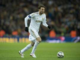 Michu, pictured on February 24, 2013, was released by Swansea City last month after a long-standing ankle problem limited him to just 29 appearances over the past two seasons