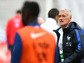 Frances head coach Didier Deschamps speaks during a training session at the Stade de France stadium on October 6, 2016