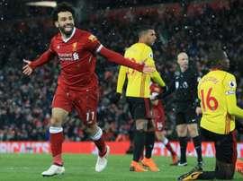 Salah, prêt à scorer de nouveau face à Watford. AFP
