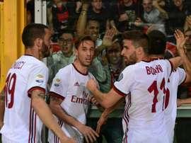 O Milan bateu o Bologna por 1-2. AFP