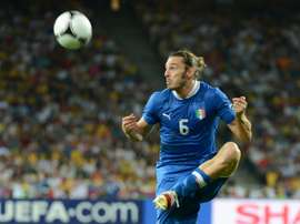 Italian defender Federico Balzaretti controls the ball during the Euro 2012 football championships quarter-final match England vs Italy at the Olympic Stadium in Kiev on June 24, 2012