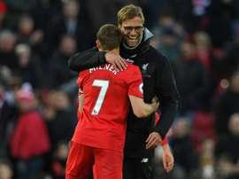 Milner deu a assistência para o 5º golo do Liverpool. AFP