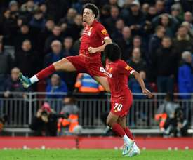 Curtis Jones (L) scored a superb goal to give Liverpool victory over Everton in the FA Cup. AFP