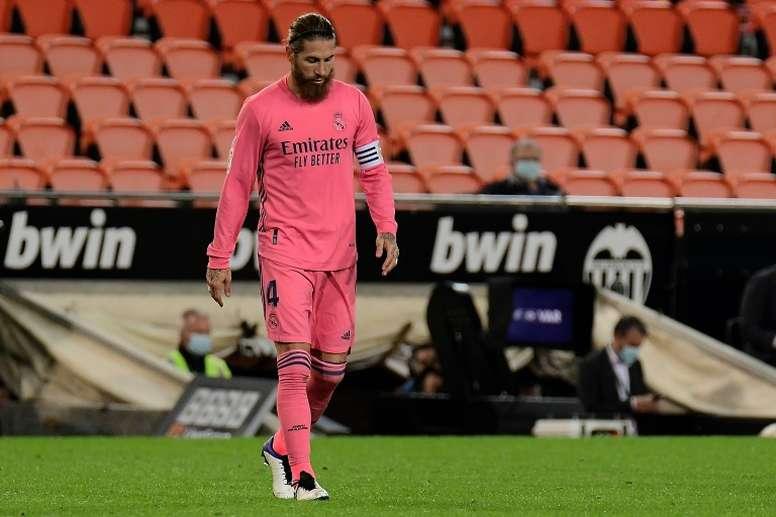 Ramos est resté à Madrid pour d'entraîner seul à Valdedebas. AFP