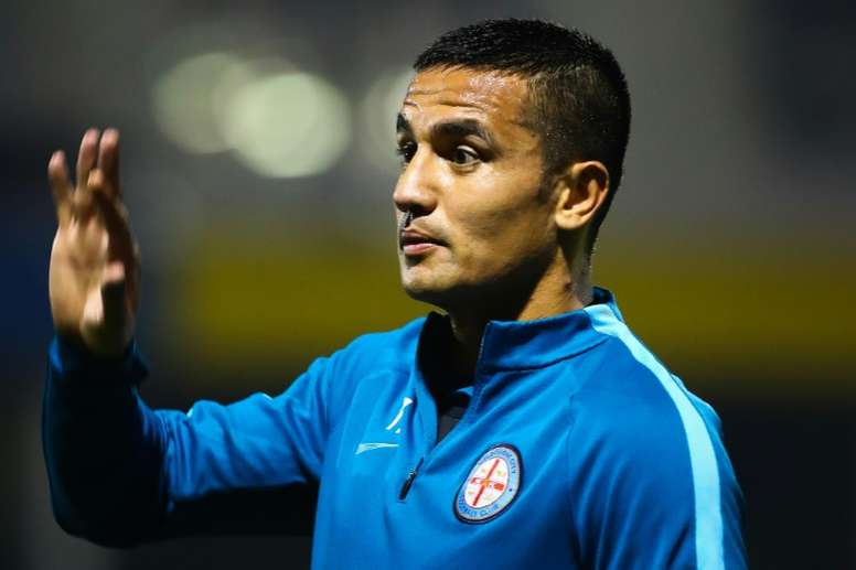 Australian international Tim Cahill warms up before his debut FFA match for Melbourne City against the Brisbane Strikers, at Perry Park in Brisbane, on August 24, 2016