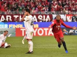 Kashima Antlers midfielder Leo Silva (R) celebrates his goal against Irans Persepolis. AFP