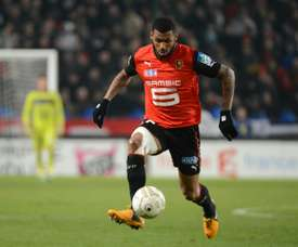 Yann Mvila controls the ball during the French League Cup semifinal football match Rennes against Montpellier on January 16, 2013