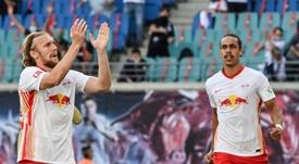 Emil Forsberg (left) and Yussuf Poulsen both scored. afp_en