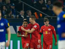Halstenbervg (C) scored in Leipzig's 0-5 thumping of Schalke. AFP