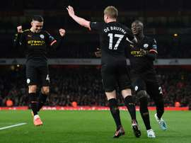 Kevin de Bruyne was the hero for Man City with two goals and an assist v Arsenal. AFP