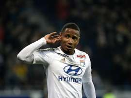Lyons forward Claudio Beauvue celebrates after scoring during the French L1 football match Olympique Lyonnais (OL) vs Troyes on January 9, 2016, at the New Stadium in Decines-Charpieu, central-eastern France