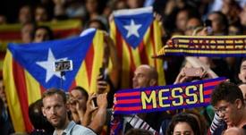 El Barça se manifiesta por la sentencia del Supremo. AFP