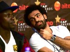 Salah (r) has been unable to score in his last seven games. AFP