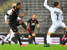 Ighalo (L) scored the opener in Man Utd's 0-5 drubbing of LASK Linz. AFP