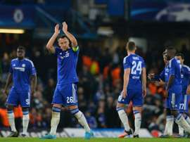 Chelseas John Terry applauds the fans after winning the Chamions league group stage match against Dynamo Kiev at Stamford Bridge on November 4, 2015