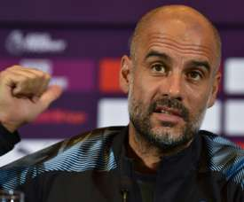 Pep Guardiola is annoyed by Bayrn's constant interest in Sane. AFP