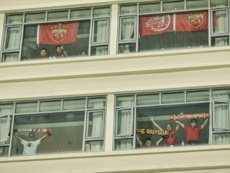 Fans rented out hotel rooms to watch the matches. AFP