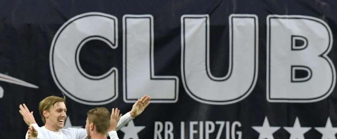 Leipzig forward Timo Werner (R) midfielder Emil Forsberg after scoring. AFP