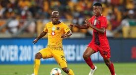 Siphosakhe Ntiya-Ntiya and Tshegofatso Nyama during the Nedbank Cup Soccer Final. AFP