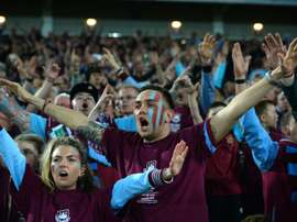 West Ham fans cheer on May 10, 2016