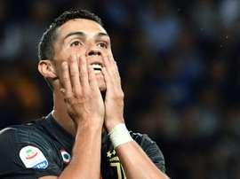 Cristiano Ronaldo segue sem marcar na Itália. AFP
