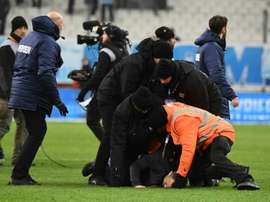 A club at war: Marseille security staff wretsled pitch invaders to the ground at the final whistle