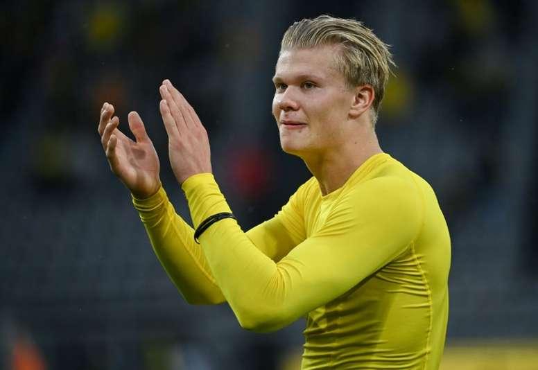 Haaland lleva 24 goles en 27 partidos con el Borussia Dortmund. AFP
