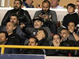 Maradona sits out a suspension in the stands. AFP